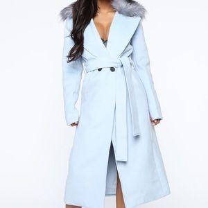 "Fashion Nova ""Need You Baby Coat"" Blue"